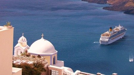Cruise ships at Santorini
