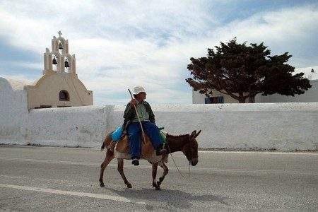 Donkey ride at Santorini