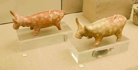 Neolithic Pottery of Bulls, Museum of Prehistoric Thera
