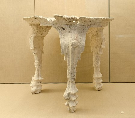 Plaster cast of a carved wooden table, Museum of Prehistoric Thera