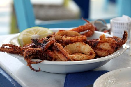 Fried Squid at Ammos Restaurant, Perivolos