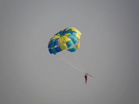 Parasailing at Perivolos Beach
