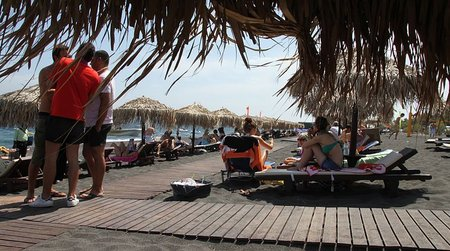 Perivolos Beach, view from parasol